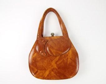 VINTAGE 1960s Handbag Marled Brown