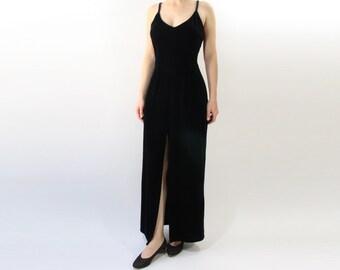 VINTAGE 1990s Black Velvet Gown Slit Dress Medium Small