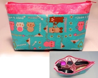 Makeup Bag with Build-in Organizer (Cats)