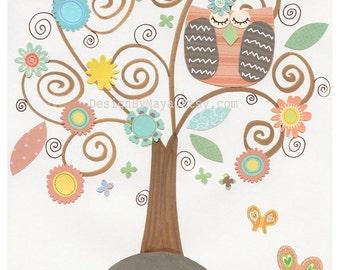 Baby girl, Nursery wall art print, Baby room decor, owl, nursery tree, Hayley, coral, aqua,baby, turquoise, peach, baby teal, flower, spring