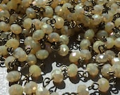 sale Chain Handmade rosary style beaded Opal Vanilla Latte Luster crystal USA made American Artisan 6x4 mm rondelle