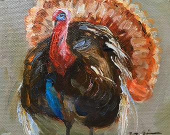 "Turkey Painting Portrait,Turkey Painting, Original Oil Painting, Small Painting, Miniature Mini Painting, 6""X6"", Thanksgiving Decor, Gift It"