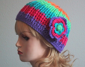 Ladies/Teen Beanie Hat w/Flower in Brite Rainbow Stripes - Size Small - Chemo Cap - Soft Acrylic Yarn - Hand Crocheted - Ready to Ship