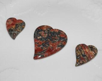 Set Of 3 : LEOPARD JASPER Genuine Gemstone Heart Focal Pendant Beads Jewelry Supplies Three Piece Set Heart Shaped Jasper Necklace Earrings