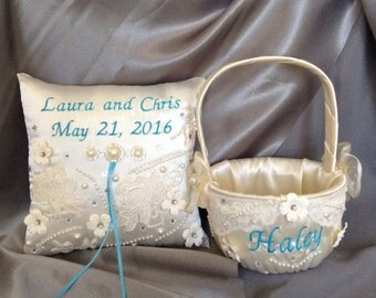 flower girl basket and ring bearer pllow white or ivory color satin embroided