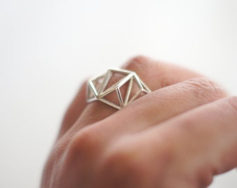 Geometric Prism Cage 3d Printed Ring- Sterling Silver