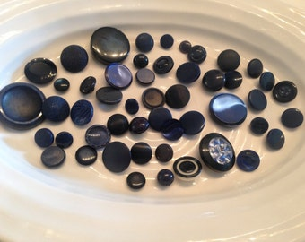 Shank Buttons - 50 assorted dark blue shank buttons