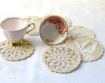 Cup Coasters home decor, Vintage Antique lace Crochet elegant  coasters. Shabby chic Coffe Tee coasters, Set of 6 elegant pieces by Mintook.