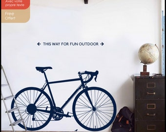 Bicycle wall decal : A race Bicycle on your wall, Road bike decal, bicycle wall sticker, with  reflections and your own text