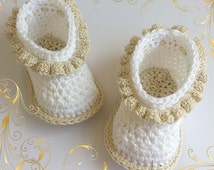SIMPLE baby booties Crochet pattern - Perfect for special occasion. Permission to sell finished items. Pattern No. 122