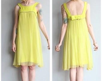 20% Sale 1960s Dress // Chartreuse Dream Chiffon Dress // vintage 60s dress