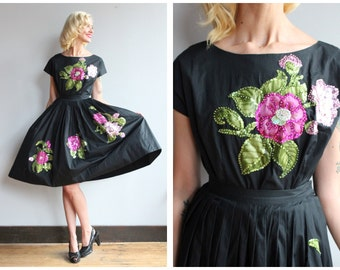 1950s Dress Set // Marquee Moon Blouse & Skirt // vintage 50s floral + sequin set
