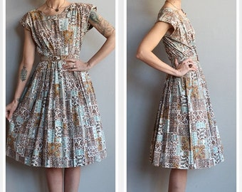 Sale 1940s Dress // Change of Season Dress // vintage late 40s dress