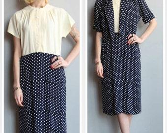 1940s Dress // Polka Dot Carol Vogue Rayon Dress & Jacket // vintage 40s set