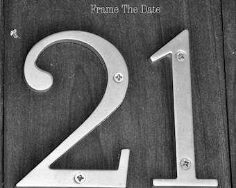 Number 21 TWENTY ONE Photograph, Individual 4x6 Number Photo, Wedding Date Print (21)