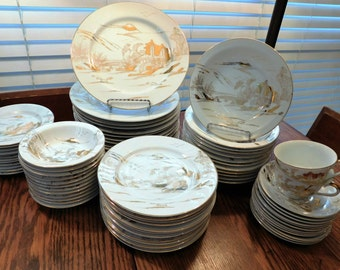 Kutani-dinnerware-porcelain-Fuji-landscape-scene-gold-on-white-75-pieces