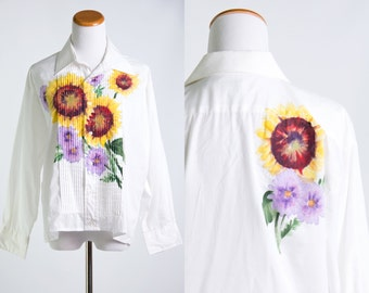 Vintage Tuxedo Shirt w/ Hand Painted Sunflowers * White Ruffle Blouse Yellow Brown Purple Green Flowers* Size Large X-large * FREE SHIPPING