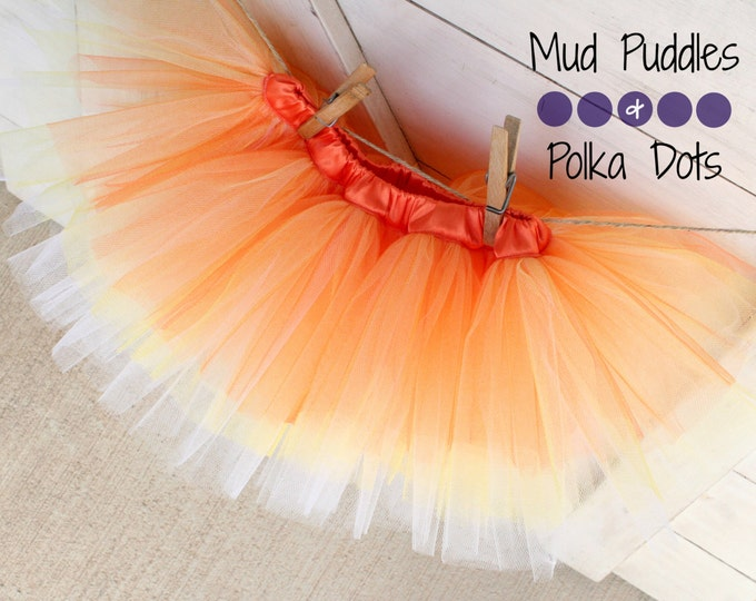 Candy Corn Satin Lined Tutu Skirt - Yellow, Orange, White, Baby, Infant, Toddler, Girl, Fashion, Boutique, Thanksgiving, Halloween, HTT6