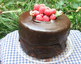Chocolate Cake with Raspberries Candle