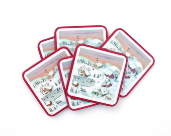 Pimpernel traditional coasters set of 6 winter village scene England cork bottom Christmas winter holidays