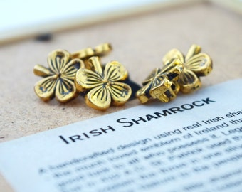 Shamrock buttons vintage antique brass/gold finish set of 5 lucky charm leaf clover sewing buttons St Patricks Day Irish sewing supplies