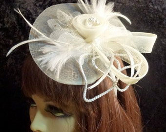 Bridal Fascinator Hat Ivory Feathers with Headband