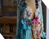 RESERVED for Karina Unique  Turquoise With Pink  Shadows Jacket SILK TURQUOISE RIBBOn Fairy Antique Millinery Lots of Old Doilies  Romantic