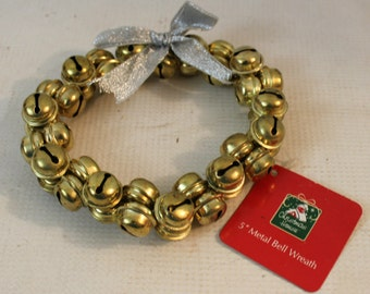 "Christmas House 5"" metal gold jingle bell wreath seasonal decor NWT"