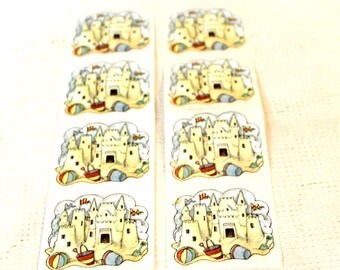 8 vintage sand castle stickers scrapbook collectible RA Lang