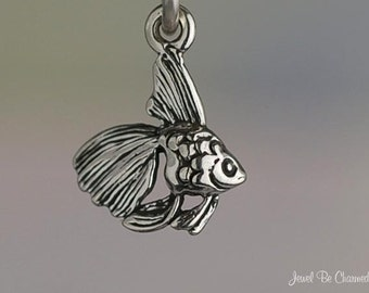 Goldfish or Beta Fish Charm Miniature Sterling Silver Very Small Tiny
