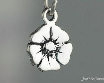 Miniature Sterling Silver Poppy Flower Charm Poppies Tiny Solid .925