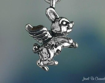 Bunny Rabbit Angel Charm Sterling Silver Rabbits with Wings Solid .925