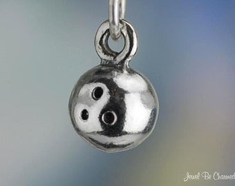 Sterling Silver Bowling Ball Charm Bowlers Miniature Tiny 3D Solid 925