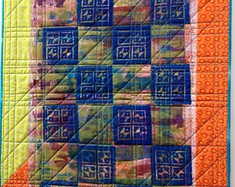 Small Art Quilt, Wood Block Printed Fabric, Orange Blue Green Wall Art, Table Topper, Quiltsy Handmade