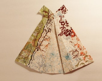 """Large Origami Dress with brown orange green teal floral and fleur de lis 10"""" x 11"""""""