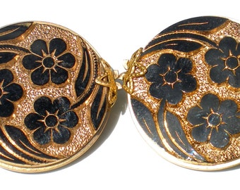 Black U0026 Gold Flower Glass Slide Earrings Are Hillcraft Vintage Jewelry On  Gold Filled Setting