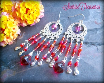 Red and Pink Bohemian Chandelier Earrings, Wire Wrapped Raspberry Pink Quartz Drop Earrings, Pink Gemstone Earrings, Colorful Jewelry