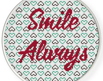 Instant download,Cross stitch pattern, PDF,quotes,smile always,2 patterns 1 price,ZXXC0638