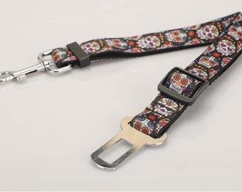Handmade Sugar Skull Halloween Pet Safety Seat Belt Grosgrain Ribbon  49-75 cm Adjustable