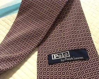 Vintage Polo Tie RALPH LAUREN Purple and White Abstract Polka Dot and Diagonal Stripe Pattern