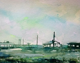 Dungeness Green 2; Original Watercolour Painting