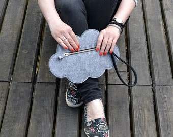 Grey felt bag, CloudEnvelope, grey felt,  clutch, crossbody bag,  small size