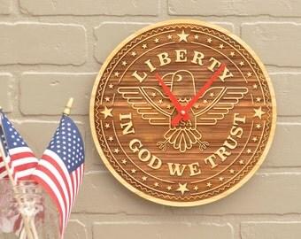 USA Liberty American Eagle Clock Bamboo Patriotic Room Decor