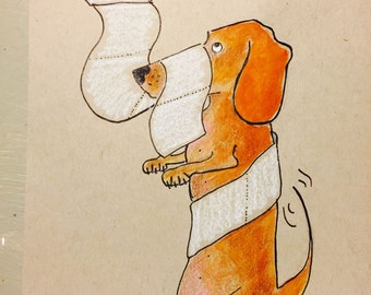 Dachshund Dog Art, Dachshund Print, Dachshund Bathroom Art,  Wiener Dog Art