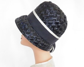 1960s cloche hat, vintage navy blue with ribbon hatband
