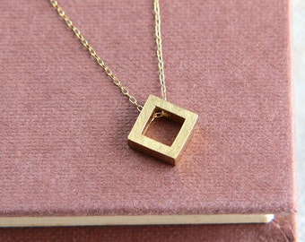 SALE, Square Necklace, Square Pendant Necklace, Gold Brass Square Necklace, Geometric Pendant, Minimalist Jewelry, Everyday Necklace