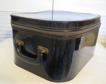 vintage LARGE Black Patent Wig Box with Carrying Handle - Femina Tote by Munro