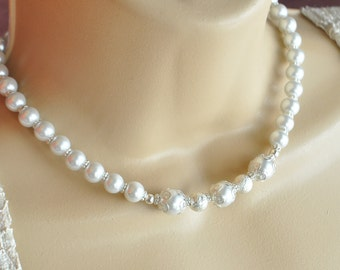 Pearl and Crystal Elegant Bridal Necklace and Earring Set