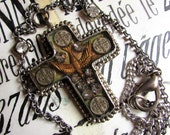 Esprit bird reliquary cross necklace rhinestone antique saint medals religious bird Cathoic one of a kind jewelry