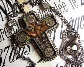 Esprit bird reliquary cross necklace rhinestone antique saint medals religious bird Cathoic one of a kind jewelry